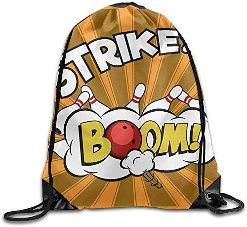 SDFGSE Bowling Balls and Pins Design2 Unisex Outdoor Gym Sack Bag Sport Drawstring Backpack Bag