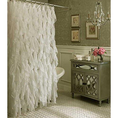 Amazon Cascade Shabby Chic Ruffled Sheer Shower Curtain Ivory