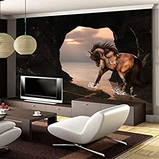 Large Wallpaper Spatial Extension Personality Wall Mural Wallpaper 3D Stereo Seaside Horse Wall Painting Fresco Living Roo...