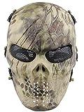 Aoutacc Maschera del Cranio Airsoft, Maschera Tattica del Cranio del Fronte Pieno con Protezione dell'occhio della Maglia del Metallo Party And Halloween Cos Skull Mask Gioco di Guerra CS BB Gun