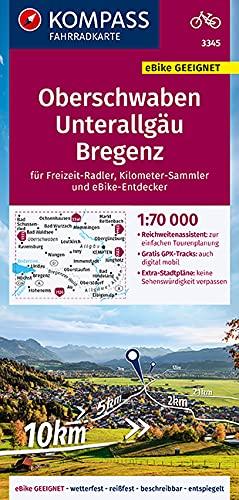 KOMPASS Fahrradkarte Oberschwaben, Unterallgäu, Bregenz 1:70.000, FK 3345: reiß- und wetterfest mit Extra Stadtplänen (KOMPASS-Fahrradkarten Deutschland, Band 3345)