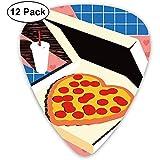 Funny Pizza My Heart Blue Plaid Classic Celluloid, guitare, choix, basse électrique, acoustique, mandoline (12 unités)