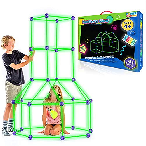 Creative Fort, Fort Building Kit para niños, Fort Building Kit que brilla en la oscuridad, Playhouse para niños Construcción (C luminoso)