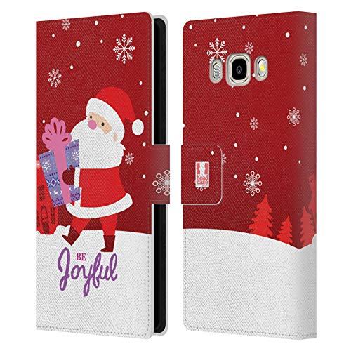 Head Case Designs Babbo Natale Decorazioni Natalizie Cover in Pelle a Portafoglio Compatibile con Samsung Galaxy J5 (2016)