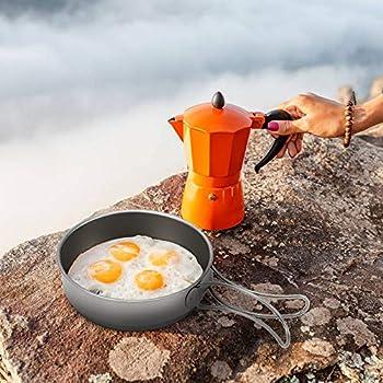 Lixada Poêle à Frire, poignée titrable Ultra-légère titanique Ultra-légère de Casserole de cookware de Casserole de friture extérieure, 350ml / 500ml