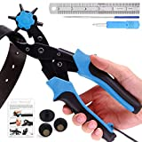 Leather Hole Punch, Belt Hole Puncher - Upgraded Version with Hole Size Dial, Premium Puncher for Belts, Watch Bands, Straps, Dog Collars, Saddles, Shoes, Fabric, DIY Home, Heavy Duty Rotary Punch Set