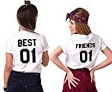 Mejores Amigas T-Shirt Best Friends Camiseta 2 Piezas Shirt 100% Algodón Verano con Manga Corta BFF para Mujer Moda(Blanco+Blanco,Best-XS+Friends-XS)