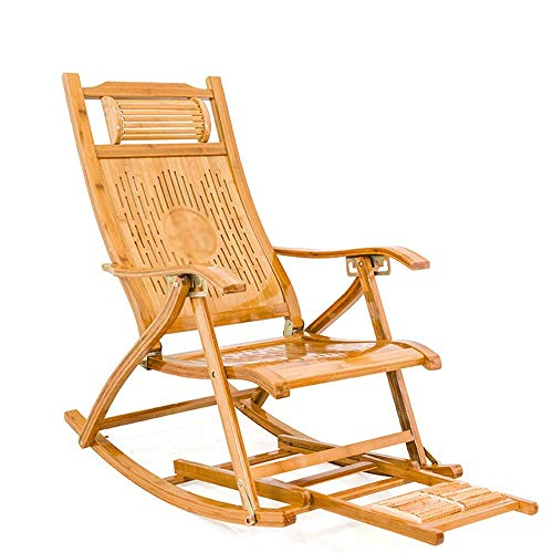 Rocking Chair Bamboo Recliner Folding Rocking Chair Casual Adult Easy Chair Sleeping Chair Old Man Lunch Break Siesta Home Bamboo Chair (Color : Photo Color, Size : M) nyfcck