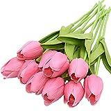 12 Pezzi Tulipani Artificiali Tocco Reale Fiori Finti Tulipani Vero Tocco Materiale in Lattice per Casa Matrimoni Nozze Festa Mazzo Ufficio Giardino Composizioni Floreali Fai-da-Te