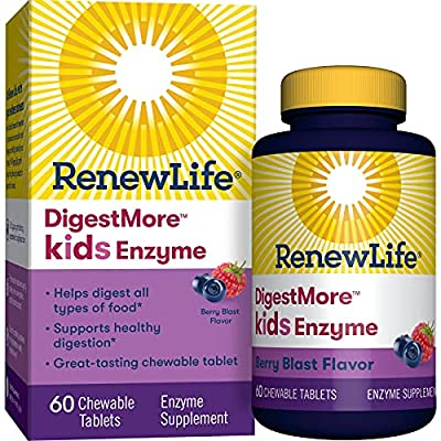 Renew Life® Kids Digestive Plant-Based Enzyme Supplement - DigestMore™ Kids Enzyme, Berry Blast - 60 Chewable Tablets