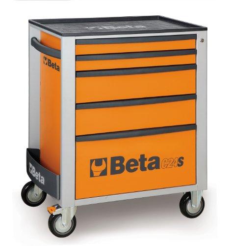 Beta C24S/5-O - Carrello Portautensili con ruote da 125mm (una con freno), 5 Cassetti con guida telescopica a sfera e Serratura di sicurezza centralizzata, portata massima 800 Kg, Arancione