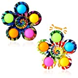Gigilli Pop Fidget Spinner 2 Pack, Push Tie Dye Simple Fidget Popper Spinners, Pop Bubble Fidget Toys Hand Spinner for ADHD Anxiety Stress Relief, Bulk Sensory Toy Party Favor for Kids (Green)