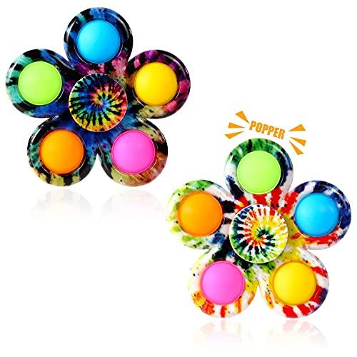 Gigilli Pop Fidget Spinner 2 Pack, Push Tie Dye Simple Fidget Popper Spinners, Pop Bubble Fidget...