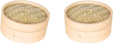 Flameer 2-Pack Natural Bamboo Steamer Basket Dim Sum Bamboo Steamers, Great for Asian Cooking, Buns, Dumplings, Vegetables, Fish, 6-inch