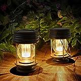 2 lanterne a solare da appendere per esterni, lampada da giardino a LED, vintage, con manico, per vialetti, cortile, patio, decorazione albero, spiaggia, padiglione Luce , luce calda