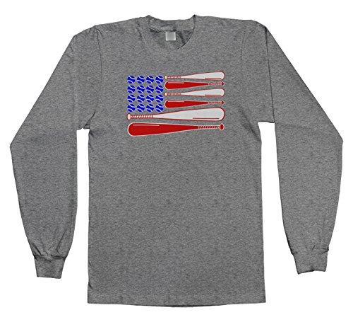 Threadrock Kids Baseball and Bat American Flag Youth Long Sleeve T-Shirt S Sport Gray