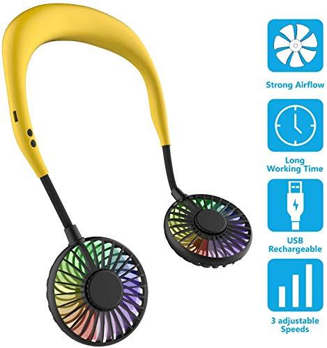 GLEYDY Ventilador Personal Portátil, Mini Ventilador USB Recargable, Ventilador, Diseño de Auriculares, Banda para El Cuello Portátil Ajustable Ventilador con LED Doble Cabeza de Viento,Amarillo