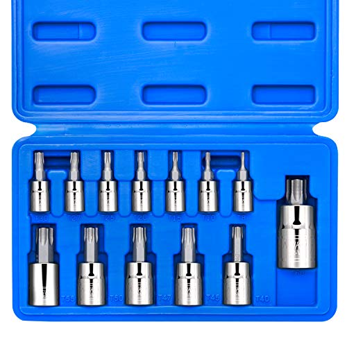"Neiko 10071A Torx Bit Socket Set, Metric, T8-T60 | 13-Piece Set, S2 and Cr-V Steel, 1/4"", 3/8"" and 1/2-Inch Drive"
