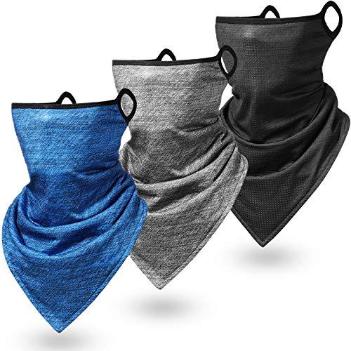 3 Piezas Bandanas de Cara de Vellón de Invierno Bragas de Cuello Triangular con Cuerda de Orejas Pasamontañas de Clima Frío para Exterior