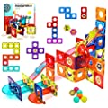 HOMOFY Magnetic Tiles 115Pcs Pipe Magnetic Blocks for Kids 3D Magnetic Building Blocks Tiles Set-Magnet Marble Run with 8 Colored Plastic Marbles STEM Toys for 3 4 5 6 Year Old Boys Gilrs Gifts by HOMOFY