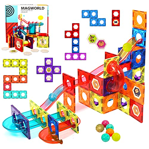 Magnetic Tiles 132 Pcs Pipe Magnetic Building Blocks for Kids 3D Clear Building Sets STEM Toys for 3 4 5 6 7 8 Year Old Boys & Girls Gifts