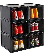 収納ボックス 超大容量 収納ケース シューズボックス クリアケース 靴棚 組立て式 多層 開閉扉 防塵 透明 小物 文房具 化粧品 クロゼット 玄関 幅28×高22×奥37cm ブラック