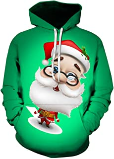 Lovers Casual Christmas Hipster Santa Claus Printing Long Sleeve Hoodies Tops
