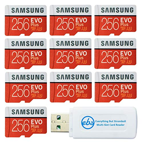 Samsung 256GB Evo Plus MicroSD Card (10 Pack EVO+ Bundle) Class 10 SDXC Memory Card with Adapter (MB-MC256G) with (1) Everything But Stromboli Micro & SD Card Reader