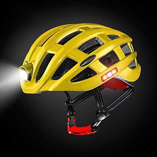 OUYA Ajustable Casco Bicicleta con Luz LED,Ligera Cómoda Casco de Ciclismo para Hombres y Mujeres Adultos,Especializado Casco Bici con Desmontable Visera,Amarillo