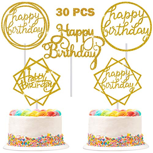30 Pieces Glitter Happy Birthday Cake Topper Birthday Cupcake Topper Colorful Cake Decorations for Birthday Party Supply (Gold)