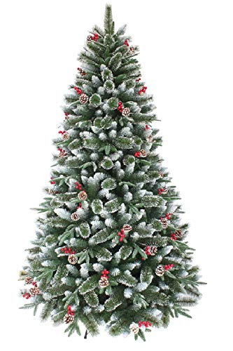 OCTOELF Artificial Christmas Tree Hinged Flocked Pine Needle Branch Pre-decorated Pine cones, Berries with Metal Stand Snow-covered Traditional Xmas Home Decor (5FT Xmas Flocked Tree)