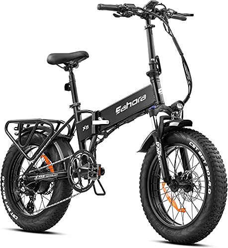 eAhora X7 750W Electric Bike for Adults 20' Fat Tires Folding Electric Bike, Full Suspension, Hydraulic Brake, 48V 14AH Removable Battery, Shimano 8-Speed Gear Shifts