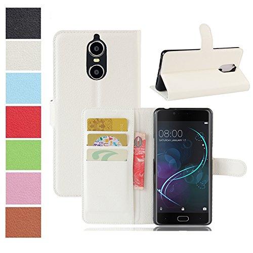 MAXKU DOOGEE Shoot 1 Hülle, Premium PU Leder Mappen Kasten für DOOGEE Shoot 1 Smartphone, Weiß
