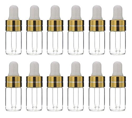12 x 3 ml Nachfüll-Glasflaschen für ätherisches Öl, für Make-up, Kosmetik, Proben, Behälter mit Augentropfer, Aromatherapie, Parfüm, Probe, Ampullen, DIY Beauty-Tools (transparent)