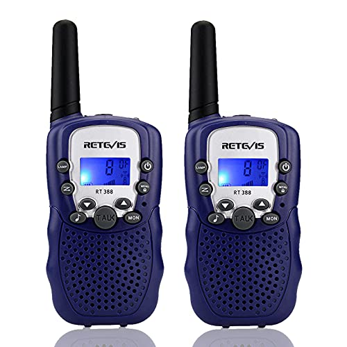 Retevis RT388 Walkie Talkies for Kids, Long Range Rechargeable VOX Flashlight Toy Gift for 3-12 Years Old Boys, Birthday Gift for Children, Family, Camping (1 Pair, Navy Blue)