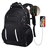 Large Laptop Backpack for Men, 15.6 17 17.3 Inch Computer Compartment Business Traveling Bookbag with USB Charging Port, Waterproof, TSA Friendly College High School 40L