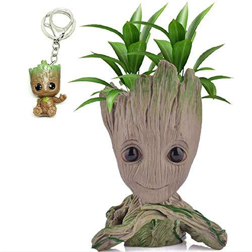 Groot - Maceta para plantas con dibujos animados, diseño de maceta, bonito modelo, maceta para suculentas y lindas plantas verdes con agujero para bolígrafo, el mejor regalo para niños (A)