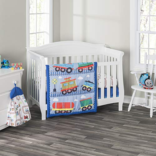 Everyday Kids 3 Piece Boys Crib Bedding Set - Choo Choo Train - Includes Quilt, Fitted Sheet and Dust Ruffle - Nursery Bedding Set - Baby Crib Bedding Set