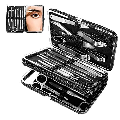 Set de manicura, CestMall 21pcs Kit de pedicura para cortaúñas Kit de...