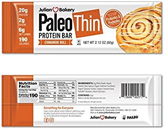 Julian Bakery Paleo Thin Protein Bar | Cinnamon Roll | Egg White Protein | 20g Protein | 6 Net Carbs | 10 Bars