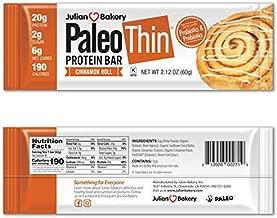 Julian Bakery Paleo Thin Protein Bar® (Cinnamon Roll) 10 Bars (20g Egg White Protein 6 Net Carbs w/Probiotics)