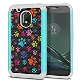 FINCIBO Case Compatible with Motorola Moto G4 Play 5 inch XT1607 XT1609, Dual Layer Football Skin Hybrid Protector Case Cover Anti-Shock TPU for Moto G4 Play (NOT FIT Moto G4) - Multicolor Paws Dog