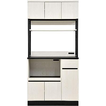 リーテンスタッド 食器棚 キッチン収納 幅90.3cm ハイタイプ コンセント付き 組立式 ホワイトオーク × ブラック Z3-wobk