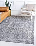 Unique Loom Portland Collection Floral Botanical Border Tone-on-Tone Textured Bohemian Vintage Gray Area Rug (8' 0 x 10' 0)