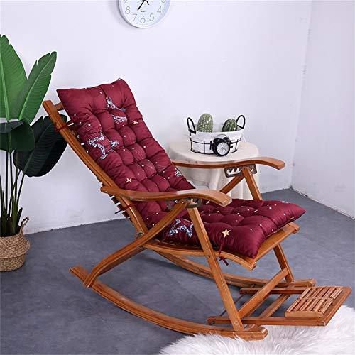 XFXDBT Sun Lounger Cushion High-back Support,thicken Extra-large Relaxer Chair Cushion Recliner Cushion Rocking Chair Cushions Garden Cushions-burgundy-a 48x120cm