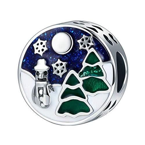 Christmas Charm Beads Original 925 Sterling Silver Love Family Bead Charms for Pandora Bracelets Women's Jewellery (Christmas Tree Charm)