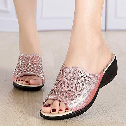 YYFF Chanclas Mujer Verano,Zapatillas cómodas y Transpirables,Sandalias de Malla con tacón de cuña-Pink_40,Hombres Mujeres Sandalias
