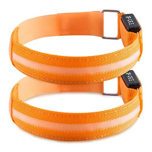 kwmobile Set de 2 brazaletes Luminosos LED - Pulseras de Seguridad para Correr Ciclismo Caminar - Brazalete Deportivo Luminoso en Anaranjad