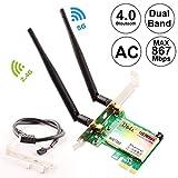 Ubit Wireless Network WiFi Card, Dual Band Wireless-AC 7265, AC1200Mbps Bluetooth 4.0 Card, 6dBi Antenna Wireless Dual Band (5G/2.4G) Gigabit Network Adapter Wireless Card for Desktop PC