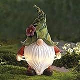 La Jolíe Muse Esculturas y estatuas de jardín de Resina, Decoracion Jardin Exterior, El gnomo navideño Tomte de Barba Larga Jugando al Hula Hoop con Luces LED solares, Halloween Decoracion